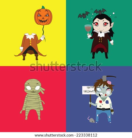 Halloween undead characters set - stock vector