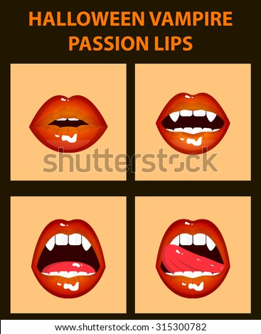 Halloween vampire set of 4 sexy open mouths, tongue hanging out, orange erotic seductive lips, passion, fangs - stock vector