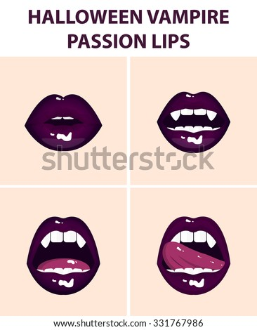 Halloween vampire set of 4 sexy open mouths, tongue hanging out, violet erotic seductive lips, passion, fangs - stock vector