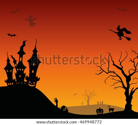 Halloween vector background with castle, bat and witch