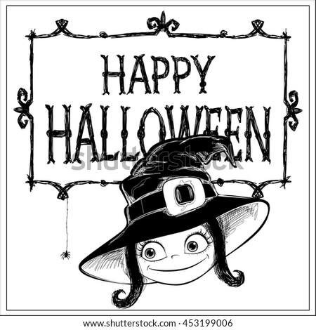 Halloween vector card. Little Witch, frame and letters. Handmade are made black ink on white background. This useful to poster, card, invitation for party, coloring book. - stock vector