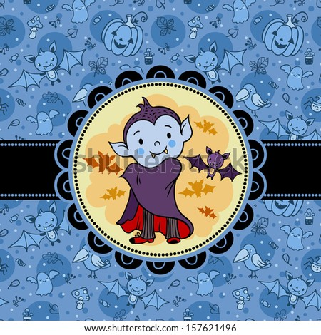 Halloween vector card with cartoon vampire and bat. Bright holiday background in vector. - stock vector
