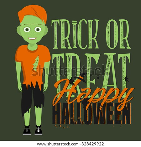 Halloween vector card with scary character and hand lettered text. Vector art