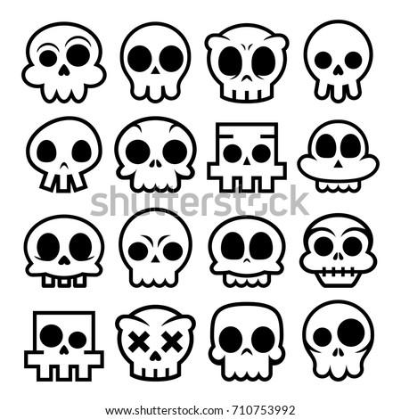 halloween vector cartoon skull icons mexican cute sugar skulls design set dia de los - Mexican Halloween Skulls
