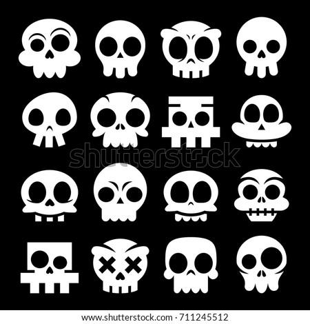 halloween vector cartoon skull icons mexican white cute sugar skulls design set dia de - Halloween Dia