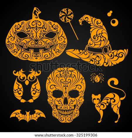Halloween vector design elements set. Ornate pumpkin, skull, witch hat, candy, owl, cat,  spider.Can be used for greeting card, banner, labels, poster, party invitation design. Happy Halloween - stock vector
