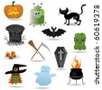 Halloween vector icons set - stock vector