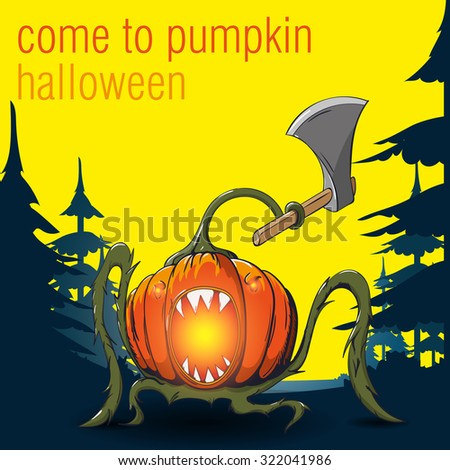 Halloween. Vector illustration. Pumpkin in the forest with an ax. - stock vector