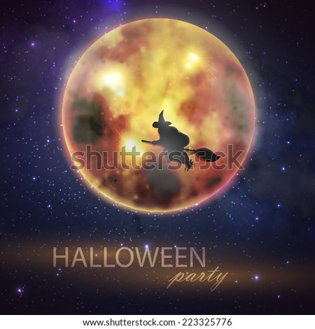 Halloween vector illustration with full moon and witch on the night sky background. party flyer design - stock vector