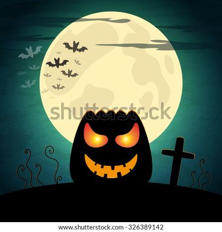 Halloween vector illustration with pumpkin and dark landscape. EPS10 - stock vector