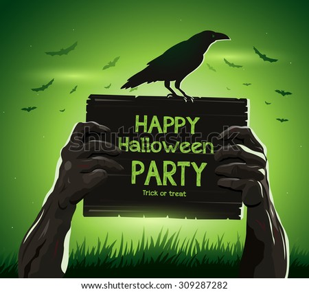 Halloween vector illustration zombie's arms from the ground with invitation banner party - stock vector