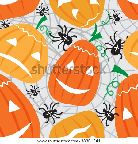 Halloween vector seamless patter with pumpkin and spiders - stock vector