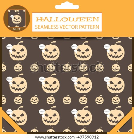 Halloween vector seamless patterns in the package with shadow.