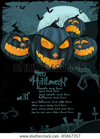 Halloween vector series. Vector Halloween template with night landscape, evil pumpkins, spooky naked tree, graveyard with glowing moon and clouds in the back. Space for your text - stock vector