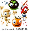 halloween vector set 6 - stock vector