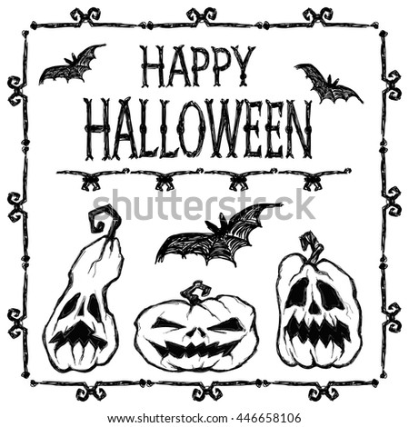 Halloween vector set. Black bats fly, creepy pumpkins, frame and letters Happy Halloween. Black ink on white background. This useful to web design, poster, card,  invitation for party, coloring book  - stock vector
