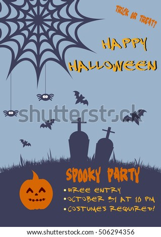 Halloween vertical background with pumpkin, bats and spiders. Flyer or invitation template for party. Vector illustration.