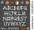 halloween white bones scary font latin alphabet and halloween related buttons on dark background education set  - stock vector