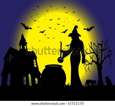 Halloween witch - stock vector