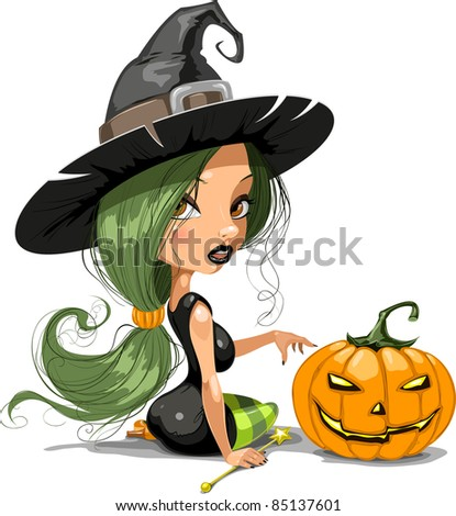 Halloween witch - stock vector