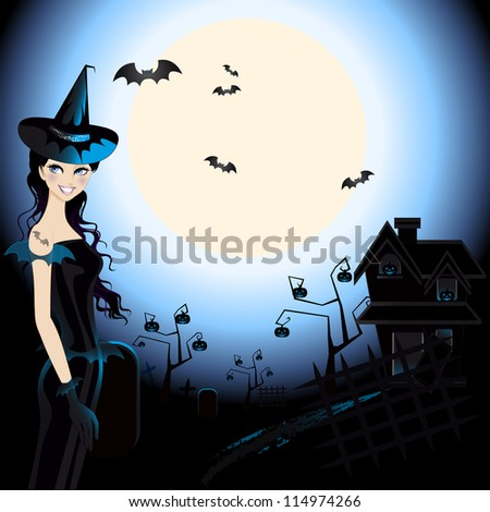 Halloween Witch : An illustration of halloween witch in a graveyard under the moonlight.