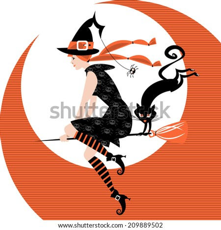 Halloween witch and black cat. Vector illustration - stock vector