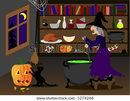 Halloween witch, cat and pumpkin, vector - stock vector
