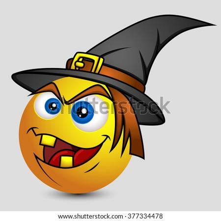 Halloween Witch Emoji Smiley Emoticon Stock Vector 377334478 ...