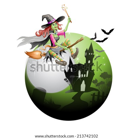 Halloween witch flying in broom - stock vector