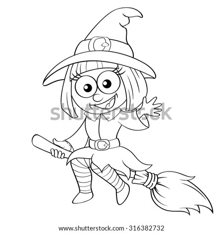 Halloween witch flying on broom. Black and white vector illustration for coloring book - stock vector
