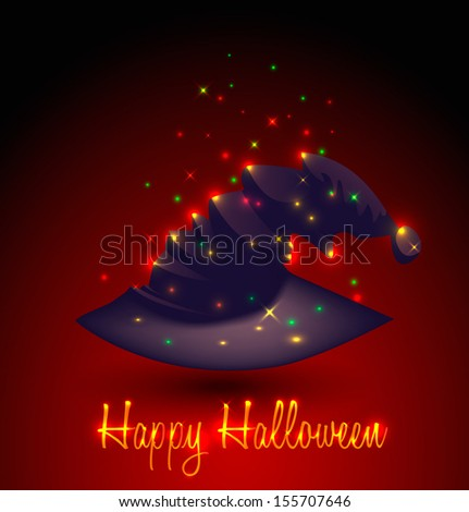 Halloween witch magic hat.  - stock vector