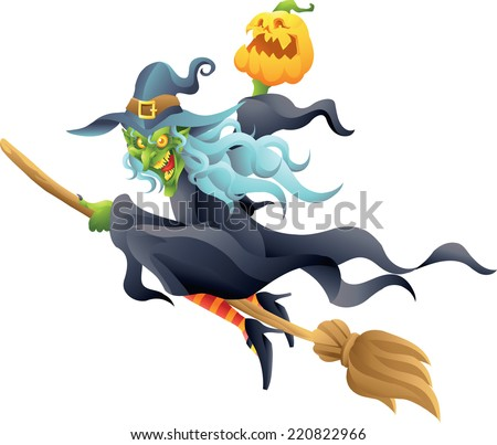halloween witch on broom holding pumpkin isolated - stock vector