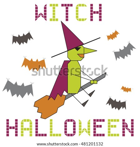halloween witch on the broom white background