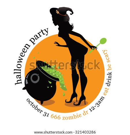 Halloween witch party invitation template with copy space. EPS 10 vector illustration for advertising, marketing, web page,  - stock vector