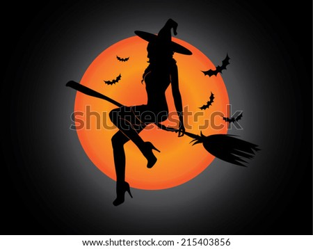 halloween witch silhouette - stock vector