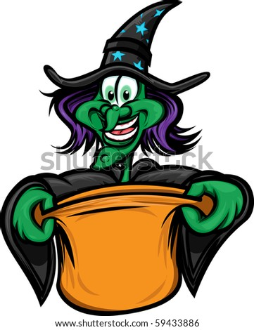 Halloween witch trick or treating - stock vector