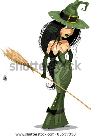 Halloween witch vector illustration - stock vector