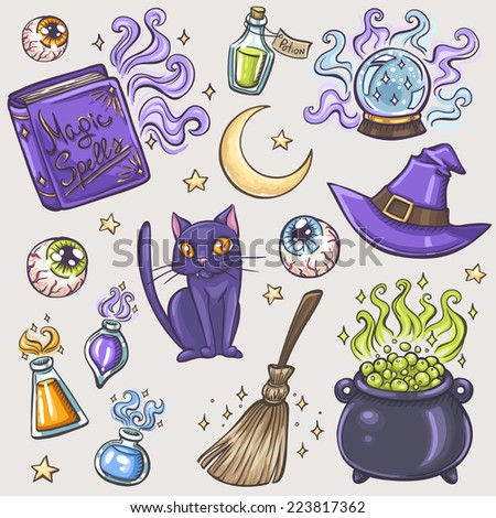 Halloween witches attributes colorful doodles set - stock vector