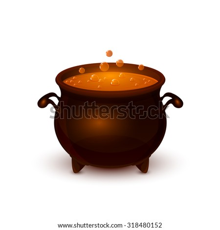 Halloween witches cauldron with potion and bubble isolated on white background, illustration. - stock vector
