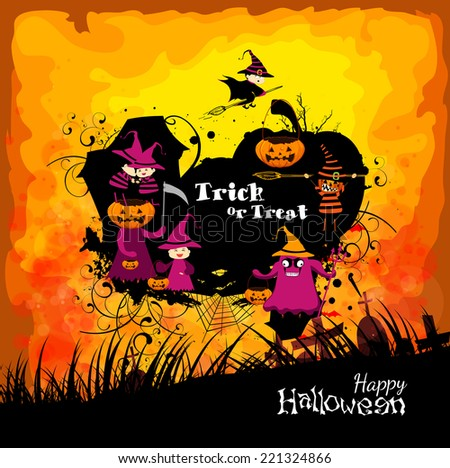 Halloween with children trick or treating - stock vector