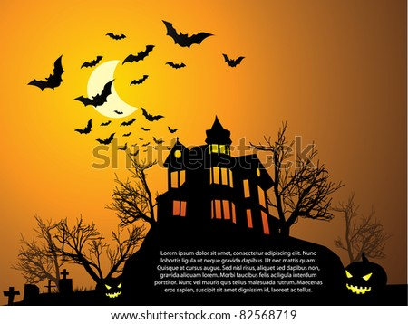 Halloween with haunted house, bats and pumpkin - stock vector