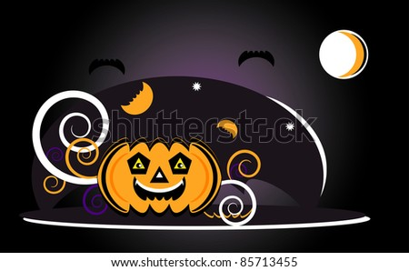 halloween with pumpkin in night