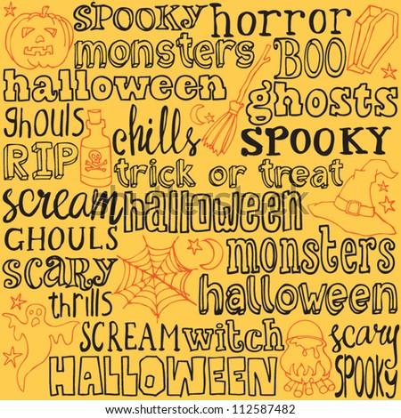 Halloween Words Icons Background Vectorprint Stock Vector ...