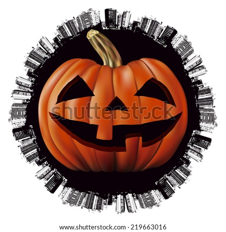 halloween world day with angry pumpkin - stock vector