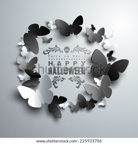 Halloween Wreath made of white black and grey paper Butterflies with free space for your text in the middle  - stock vector