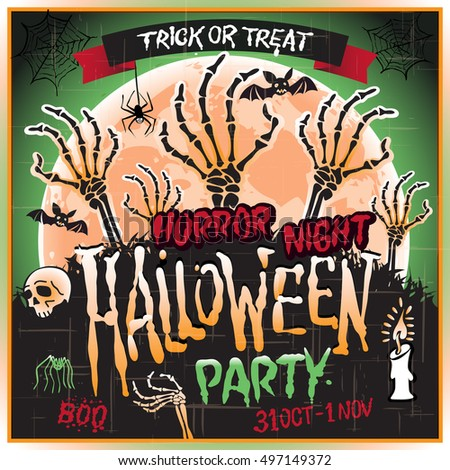 Halloween Zombie Party Poster. Vector illustration. horror night art