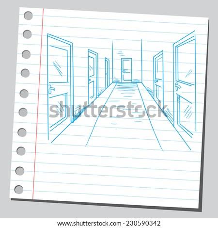Hallway - stock vector