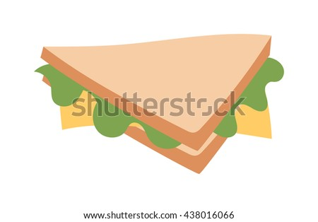 Ham and vegetable sandwich vector illustration. Breakfast fresh sandwich delicious vegetable, bacon slice. Delicious baguette big sandwich breakfast fresh, cheese, meal healthy fast food. - stock vector