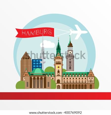 Hamburg detailed silhouette. Trendy vector illustration, flat style. Stylish colorful  landmarks. City Hall the symbol og Hamburg Germany.  - stock vector