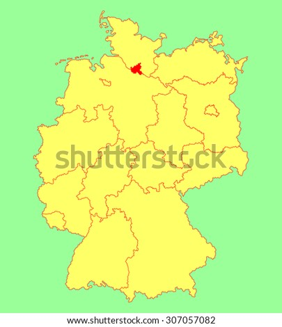 hamburg state map germany vector map silhouette illustration isolated on germany map editable